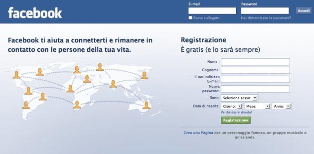 Facebook - la form di registrazione