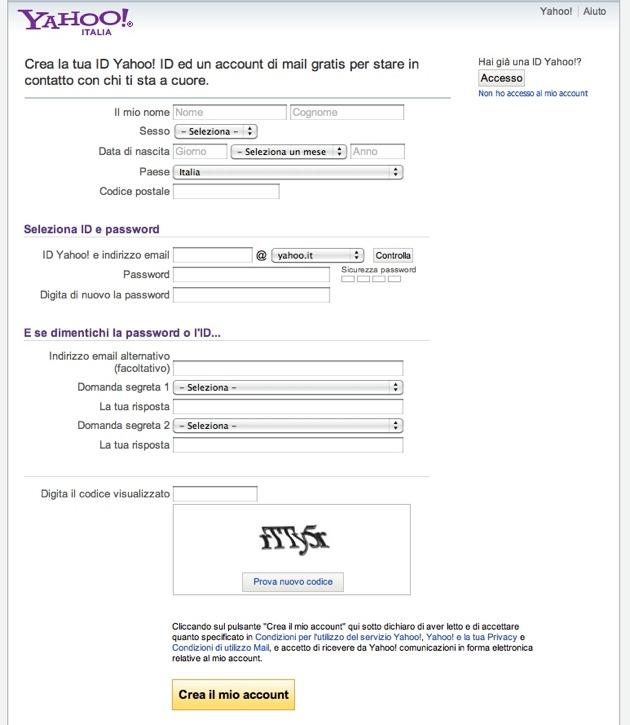 Yahoo - la form di registrazione