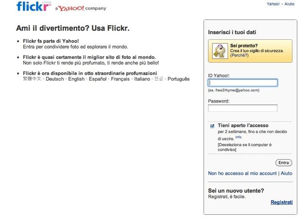 Flickr - la form di registrazione