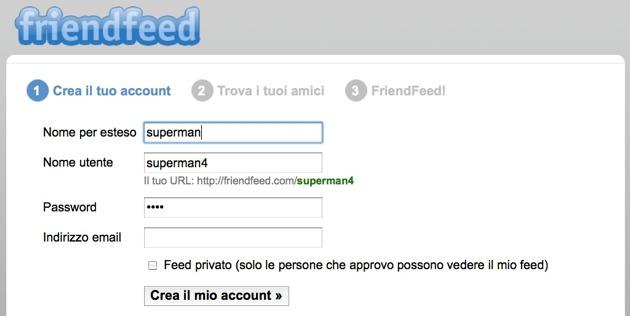 FriendFeed - la form di registrazione