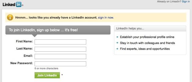 LinkedIn - la form di registrazione