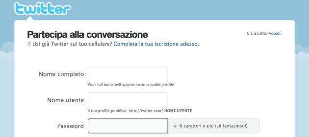Twitter - la form di registrazione