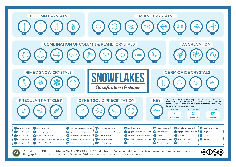 Infografica per la classificazione dei fiocchi di neve